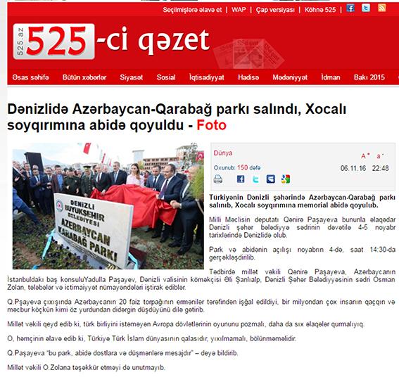 1 297 - Denizli'deki Park ve Anıt Azeri Basınında