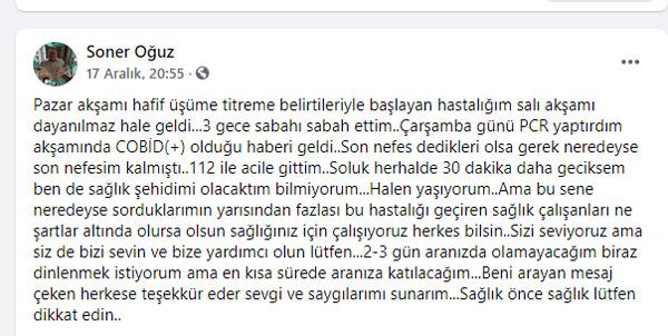 """1 3981 - """"SON NEFES DEDİKLERİ BU OLSA GEREK"""" DEMİŞTİ DR. SONER OĞUZ COVİD-19 NEDENİYLE HAYATINI KAYBETTİ"""