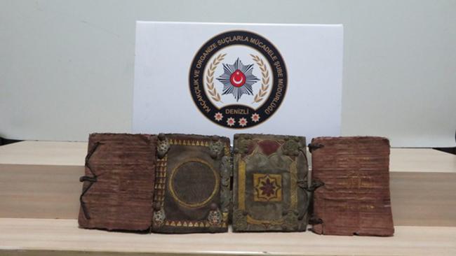 12 34 - Denizli'de 500-1000 Yıllık Papirüse Yazılı Tarihi 4 Adet Kitap Ele Geçirildi