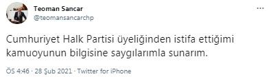 165522543 teomansancar - SANCAR CHP'DEN İSTİFA ETTİ!