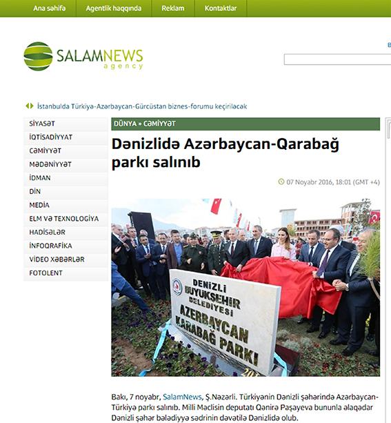 2 153 - Denizli'deki Park ve Anıt Azeri Basınında
