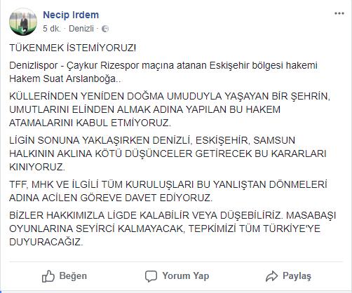 2 84 - Denizlispor Çaykur Rizespor Maçı'na O Hakem Atandı