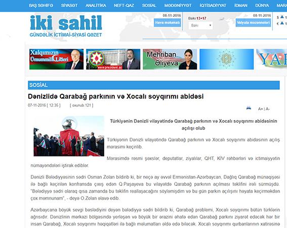 3 70 - Denizli'deki Park ve Anıt Azeri Basınında