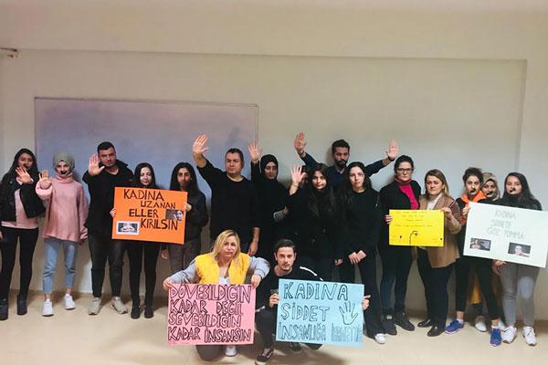 """PHOTO 2019 11 28 13 30 15 - PAÜ Bekilli MYO Öğrencileri """"Kadına Yönelik Şiddete Hayır"""" Dedi"""