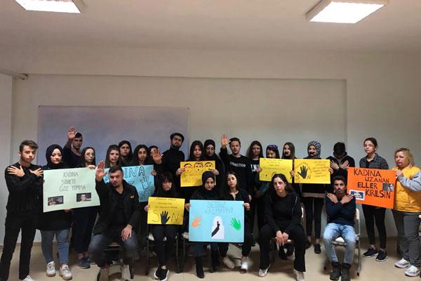 """PHOTO 2019 11 28 13 30 56 - PAÜ Bekilli MYO Öğrencileri """"Kadına Yönelik Şiddete Hayır"""" Dedi"""