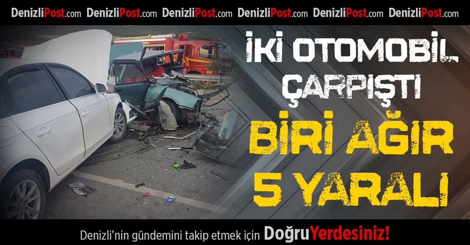 Acıpayam'da İki Otomobil Çarpıştı: Biri Ağır 5 Yaralı