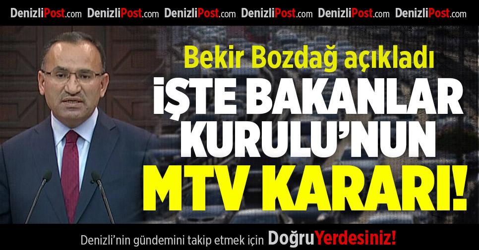 Bakanlar Kurulu'ndan MTV kararı!