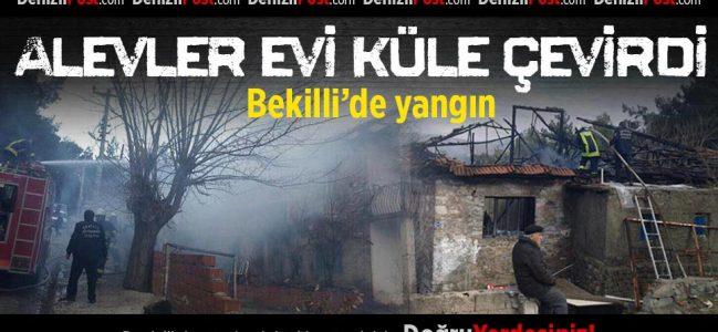 Bekilli'de Yangın Bir Evi Kül Etti