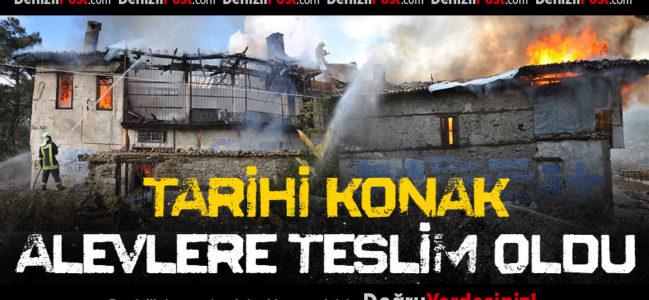 Buldan'da Tarihi Konak Çıkan Yangında Küle Döndü