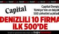 Capital'in İlk 500'ünde Denizlili 10 Firma