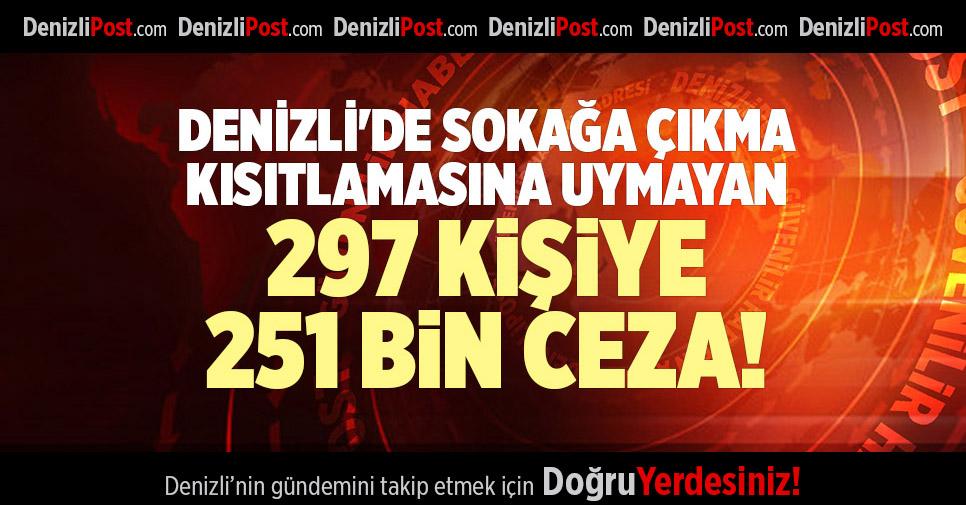 DENİZLİ'DE SOKAĞA ÇIKMA KISITLAMASINA UYMAYAN 297 KİŞİYE 251 BİN CEZA