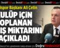 Başkan Ali Çetin, Kulüp İçin Toplanan Bağış Miktarını Açıkladı