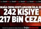SOKAĞA ÇIKMA KISITLAMASINI İHLAL EDEN 242 KİŞİYE 217 BİN CEZA