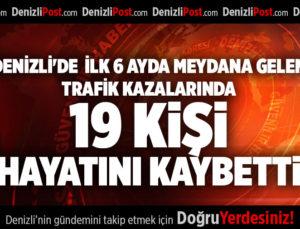 DENİZLİ'DE  İLK 6 AYDA MEYDANA GELEN TRAFİK KAZALARINDA 19 KİŞİ HAYATINI KAYBETTİ