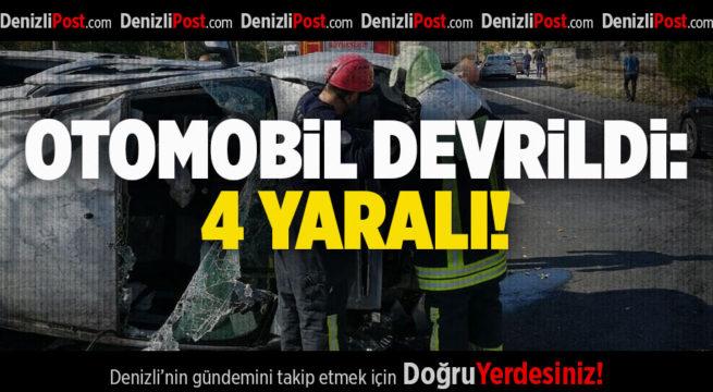 Refüje Çarpan Otomobil Devrildi: 4 Yaralı