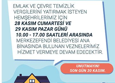 MERKEZEFENDİ BELEDİYESİ'NDE VEZNELER HAFTA SONU AÇIK