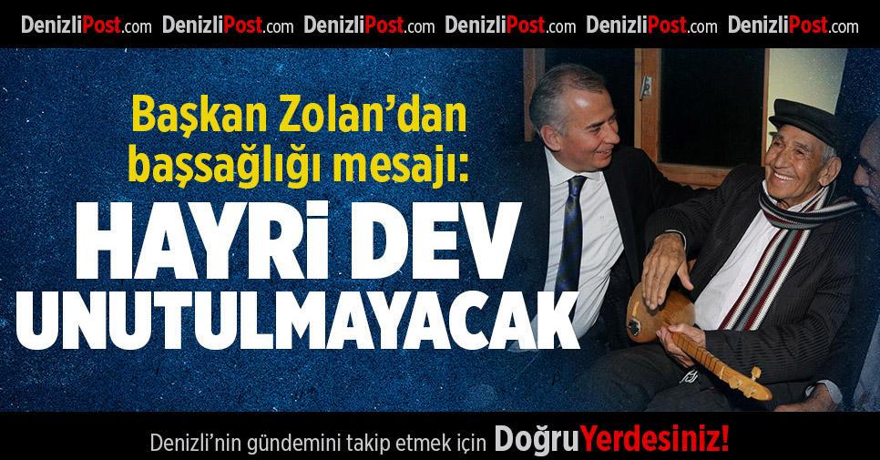 Başkan Zolan'dan Başsağlığı Mesajı