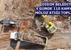 Aydın Didim'de 110 kamyon moloz atığı toplandı