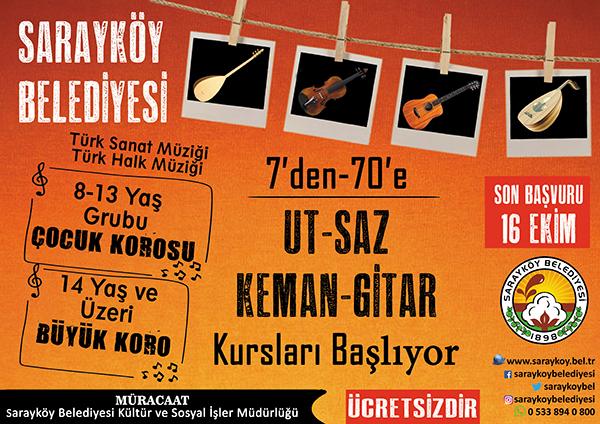 turk sanat muzigi kurs saraykoy 1 - Sarayköy Belediyesi'nden 7'den 70'e kurs