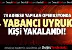 DENİZLİ'DE 73 ADRESE YAPILAN OPERASYONDA 74 YABANCI UYRUKLU KİŞİ YAKALANDI